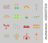 icons about amusement park with ... | Shutterstock .eps vector #1020237214
