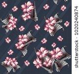 flower pattern on navy  | Shutterstock . vector #1020240874