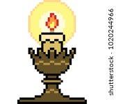Vector Pixel Art Candle Light...