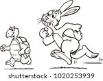 Stock vector rabbit and turtle 1020253939
