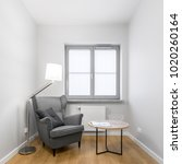 square photo of gray armchair... | Shutterstock . vector #1020260164