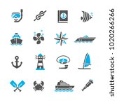 set of icons sea | Shutterstock .eps vector #1020266266