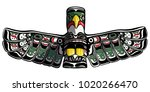 hand drawn eagle totem vector... | Shutterstock .eps vector #1020266470