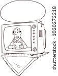 old black and white tv showing...   Shutterstock .eps vector #1020272218