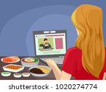 illustration of teen girl... | Shutterstock .eps vector #1020274774
