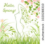 spring floral green background... | Shutterstock .eps vector #1020288310