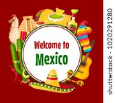 mexican poster of mexico... | Shutterstock .eps vector #1020291280