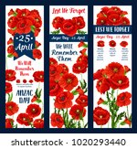 anzac day lest we forget... | Shutterstock .eps vector #1020293440