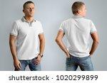 slim man in the white polo... | Shutterstock . vector #1020299899
