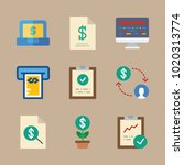 icons marketing with money ... | Shutterstock .eps vector #1020313774
