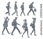 stylized silhouettes of people... | Shutterstock . vector #102031468