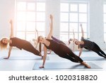 group of six sporty women... | Shutterstock . vector #1020318820