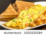 breakfast food  large omelette... | Shutterstock . vector #1020320284