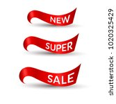 red ribbons with text new super ... | Shutterstock .eps vector #1020325429
