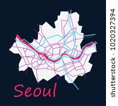 flat map of seoul with borders... | Shutterstock .eps vector #1020327394