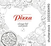 vector background with pizza... | Shutterstock .eps vector #1020330490