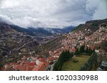 aerial view of metsovo is a... | Shutterstock . vector #1020330988