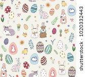happy easter. eggs cartoon... | Shutterstock . vector #1020332443