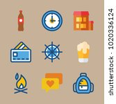 icons travel with backpack ... | Shutterstock .eps vector #1020336124