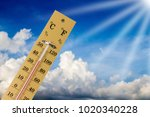 thermometer shows high... | Shutterstock . vector #1020340228