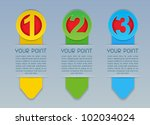 One, Two, Three vector vertical progress icons in colors - stock vector