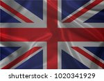 waving flag of united kingdom ... | Shutterstock .eps vector #1020341929