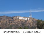 hollywood sign at los angeles... | Shutterstock . vector #1020344260