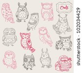 Stock vector various owl doodle collection hand drawn in vector 102034429