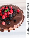 chocolate cake with berries ... | Shutterstock . vector #1020344974