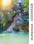 jamaica. small waterfalls in... | Shutterstock . vector #1020345328
