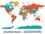 political colored world map... | Shutterstock .eps vector #1020345400