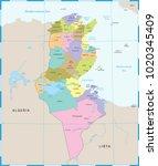 tunisia map   high detailed... | Shutterstock .eps vector #1020345409
