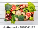 the concept of healthy food.... | Shutterstock . vector #1020346129