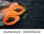 papaya. tropical fruits. on a...   Shutterstock . vector #1020346213