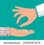 doctor hand gives capsule to... | Shutterstock .eps vector #1020347674