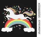 vector image happy unicorn on... | Shutterstock .eps vector #1020350224