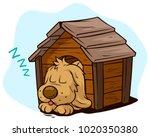 cartoon cute sleeping dog... | Shutterstock .eps vector #1020350380