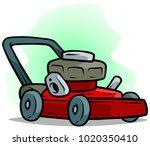 cartoon red lawn mower on green ... | Shutterstock .eps vector #1020350410