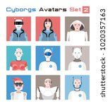 varied set of cyborgs... | Shutterstock .eps vector #1020357163