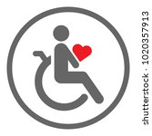 disabled person in wheelchair... | Shutterstock .eps vector #1020357913