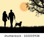 Stock vector silhouette of a couple walking their dog on sunset vector illustration 102035938