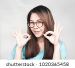 young asian woman with long... | Shutterstock . vector #1020365458