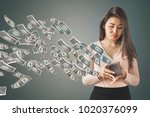 unhappy and poor asian woman... | Shutterstock . vector #1020376099