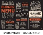 burger restaurant menu. vector... | Shutterstock .eps vector #1020376210