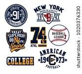 vintage denim print apparel set.... | Shutterstock .eps vector #1020376330