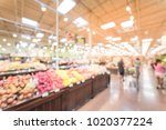 blurred produce section at... | Shutterstock . vector #1020377224