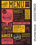 bagels restaurant menu. vector... | Shutterstock .eps vector #1020378820