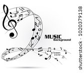 abstract music notes on line... | Shutterstock .eps vector #1020379138
