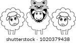 a sheep disguises itself as a... | Shutterstock .eps vector #1020379438