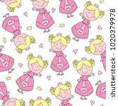 Stock vector seamless cute princess pattern vector illustration 1020379978